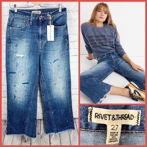NWT - Rivet & Thread Wide-Leg Crop Jeans -Size: 27
